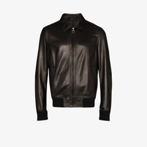 Salvatore Ferragamo Mens Black Ferr Leather Bomber Jacket