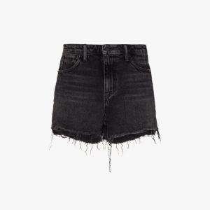 Alexander Wang Womens Black Raw Hem Denim Shorts