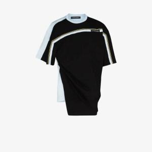 Y/project Mens Black Asymmetric Panelled T-shirt