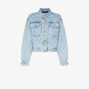 Alessandra Rich Womens Blue Crystal Button Quilted Denim Jacket