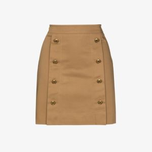Givenchy Womens Neutrals High Waist Cotton Mini Skirt