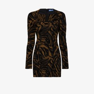 Mugler Womens Black Tiger Stripe Mini Dress