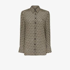 Salvatore Ferragamo Womens Black Gancini Print Silk Shirt