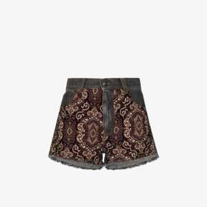 Etro Womens Blue Embroidered Panel Denim Shorts