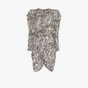 Isabel Marant Womens White Pouf Sleeve Zebra Print Silk Dress