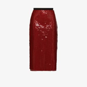Christopher Kane Womens Red Chainmail Midi Skirt