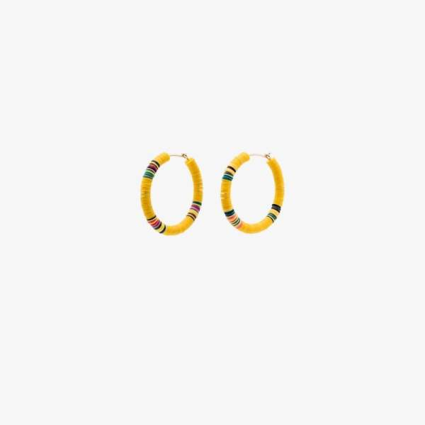Allthemust Gold-plated Heishi Beaded Hoop Earrings