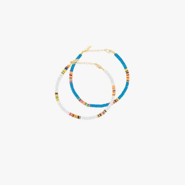 All The Must Womens White Multicoloured Heishi Anklet Set