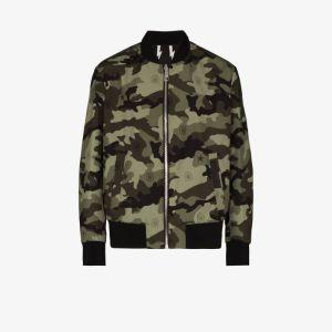 Neil Barrett Mens Black Bolt Camouflage Reversible Bomber Jacket