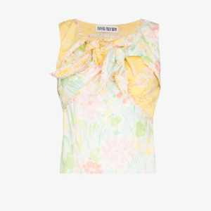 Rave Review Womens Yellow Nora Knotted Contrast Print Top