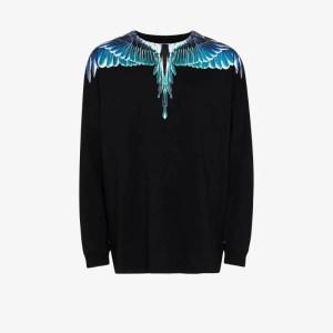 Marcelo Burlon County Of Milan Mens Black Wings Print Sweatshirt