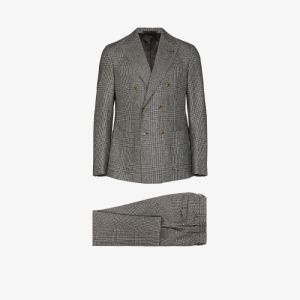 Eleventy Mens Grey Double-breasted Check Suit