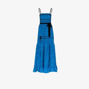 Molly Goddard Womens Blue Shirred Tiered Gown