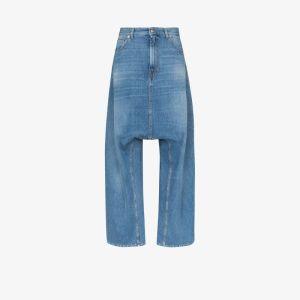 Mm6 Maison Margiela Womens Blue High Waist Wide Leg Jeans