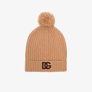 Dolce & Gabbana Womens Brown Dg Logo-embroidered Beanie Hat