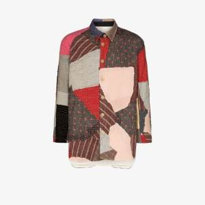 By Walid Mens Multicolour Miles Patchwork Wool Shirt Jacket
