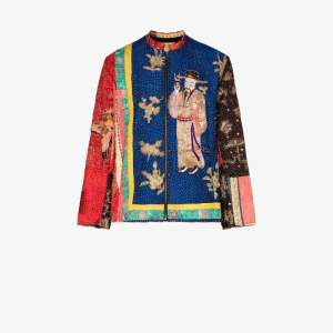 By Walid Mens Multicolour Dark Symbol Silk Embroidered Jacket