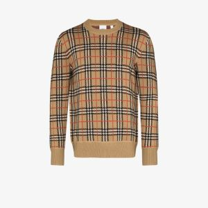 Burberry Mens Brown Fletcher Vintage Check Merino Wool Sweater