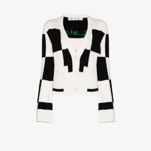 Off-white Womens Checkered Fine-knit Cardigan