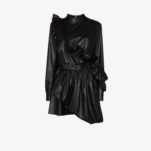 Natasha Zinko Womens Black Faux Leather Ruffle Mini Dress