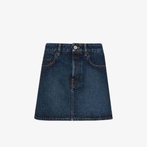Balenciaga Womens Blue Denim Mini Skirt