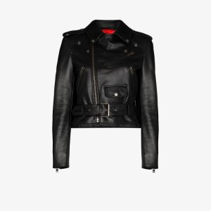 Balenciaga Womens Black Fitted Leather Biker Jacket