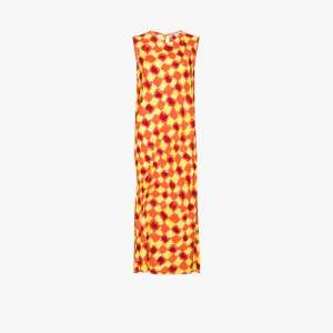 Collina Strada Womens Orange Lawn Abstract Check Midi Dress
