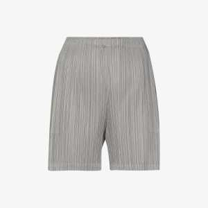 Pleats Please Issey Miyake Womens Grey Mid-rise Pleated Short Shorts