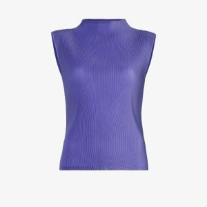 Pleats Please Issey Miyake Womens Purple High Neck Pleated Sleeveless Blouse