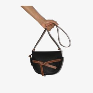 Loewe Womens Black Gate Small Leather Cross Body Bag