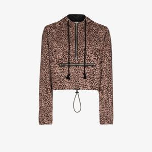 Danielle Guizio Womens Brown Leopard-print Cropped Hoodie