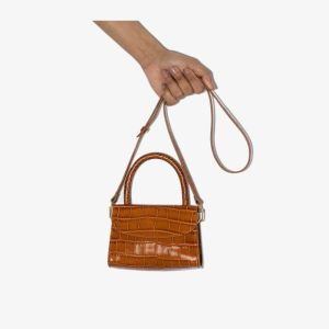 By Far Womens Brown Crocodile-embossed Leather Mini Bag