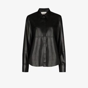 Nanushka Womens Black Button-up Long-sleeve Shirt