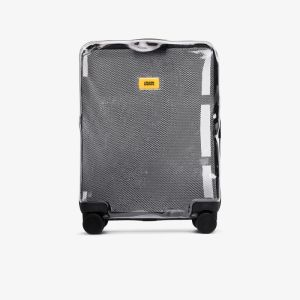 Crash Baggage Womens White Black Share Transparent Rolling Cabin Bag