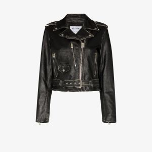 Re/done Womens Black Moto Leather Bomber Jacket