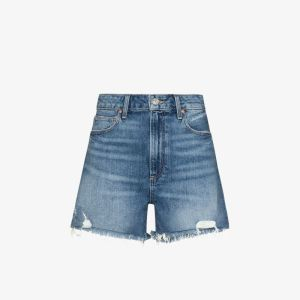 Paige Womens Blue Dani High-waisted Denim Shorts