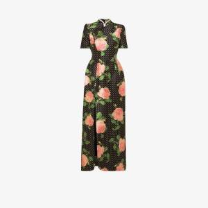 Richard Quinn Womens Multicolour Floral Polka Dot Embellished Silk Dress