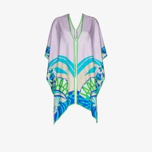 Emilio Pucci Womens Green Printed Silk Poncho