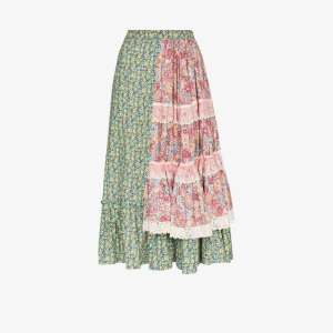 Rentrayage Womens Multicolour Tiered Patchwork Prairie Skirt