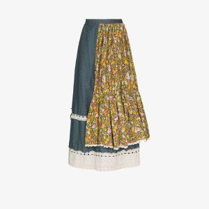 Rentrayage Womens Blue Tiered Patchwork Prairie Skirt