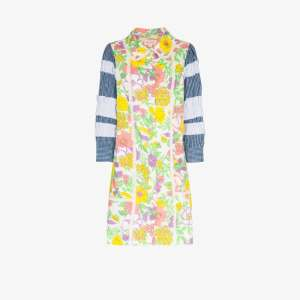 Rentrayage Womens Multicolour Ruffled Floral Print House Dress