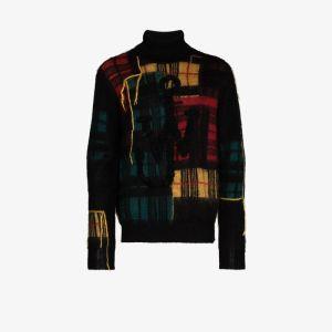 Jw Anderson Mens Brown Patchwork Turtleneck Sweater