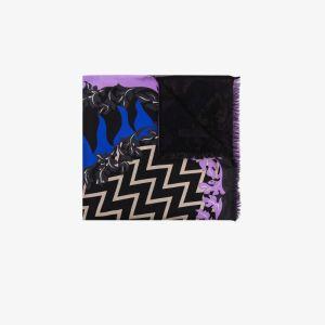 Emilio Pucci Womens Black Multicoloured Lupa Print Stole