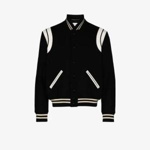 Saint Laurent Mens Black Teddy Wool Bomber Jacket