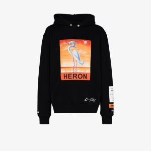 Heron Preston Mens Black X Kenny Scharf Logo-print Hoodie