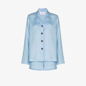Sleeper Womens Blue Buttoned Linen Pyjamas