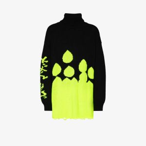Duoltd Mens Black Drop Intarsia Roll Neck Sweater