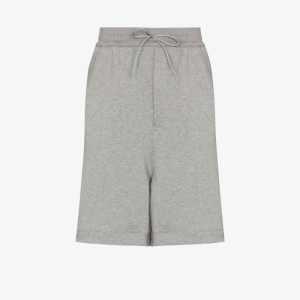 Y-3 Mens Grey Cotton Jersey Drawstring Track Shorts