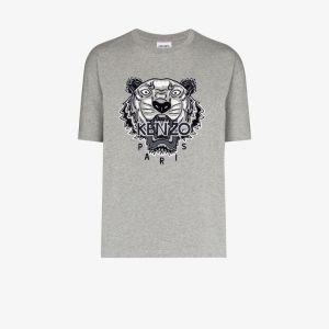 Kenzo Mens Grey Tiger Motif T-shirt
