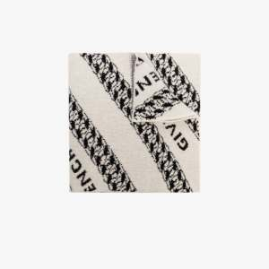Givenchy Mens White Intarsia-knit Wool Scarf